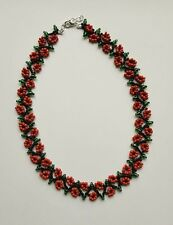 "Floral FLOWER seed BEAD necklace weave RED BLACK  BOHO 16""-18"" GLASS beaded"