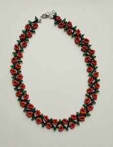 """Floral FLOWER seed BEAD necklace weave RED BLACK  BOHO 16""""-18"""" GLASS beaded"""
