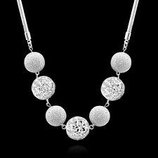 Moda De Mujer Esterlina 925 Bañado En Plata Colgante Bola Collar Cadena Joyería