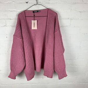 MISSGUIDED Rose Pink Batwing Oversized Knit Cardigan UK6-8