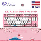 Akko World Tour Tokyo 87Key Wired Gaming Mechanical Keyboard PBT Pink Switch A++