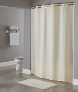 "Hookless Shower Curtain,Beige With Pin-Dot Pattern, 71x74"" Thick 8 Gauge Vinyl"