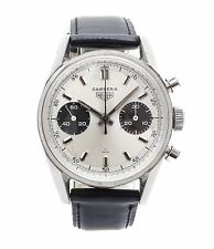 Heuer Carrera panda 7753SND chronograph steel vintage sports watch Valjoux 7730
