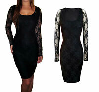 Womens Lace Evening Bodycon Midi Long Party UK Dress Black Size 8 10 12 14 16 18