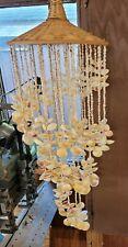 Vintage Wicker Basket style Sea Shell Hanging Wind Chime Ocean Decor Chandelier