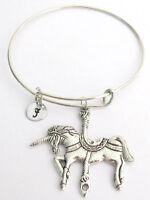 Unicorn Bangle  Unicorn Personalized Expandable Bangle Bracelet with Initial