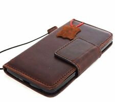 genuine leather case for LG Stylus 2 book wallet magnet closure cover brown slim