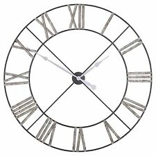Shabby Chic Extra Large 110cm Vintage Antique Grey Metal Wall Clock