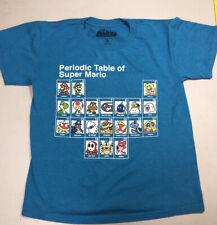 SUPER MARIO PERIODIC TABLE Blue T-shirt Tee Nintendo sz S Toad Luigi Yoshi