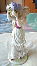 "LEONARDO CHINA  FIGURINE OF A LADY CARRYING A BASKET OF GRAPES 9"" TALL VGC"