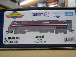 ATHEARN GENESIS G81308 HO AMTRAK P42DC PHASE III TSUNAMI2 DCC & SOUND RD # 77