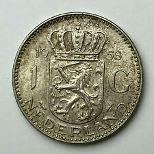 Dated : 1958 - Silver Coin - One Gulden - 1G Coin - Netherlands - Juliana