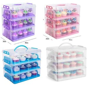 3 Tier Plastic Cupcake Carrier Storage Box Container Clear With Lid Lockable NEW