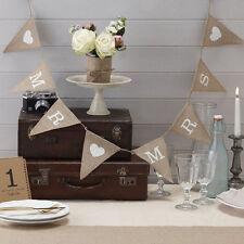 Mr Mrs Love Heart Vintage Hessian Burlap Banner Wedding Bunting Party Decor