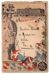 110920 ZURICH SWITZERLAND STUDENT GRUSS AUS POSTCARD 1896