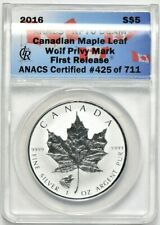 2016 Reverse Proof 1oz Silver Canadian Maple Leaf ANACS RP DCAM Wolf Privy First