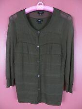 SC000549- TALBOTS Womens Rayon Nylon Twinset Cardigan Tank Top Sweater Green PS