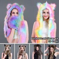 Womens Animal Winter Warm Hat Faux Fur Fluffy Cap Scarf Gloves Hood Earflap Wrap