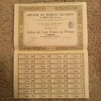 Authentic 1899 Paris France Bond Certificate W/ Several Bonds Script Document
