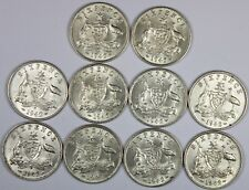 Australia 1942 D Sixpence, about Uncirculated to Uncirculated (10 Coins)