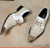 Mens Steel Pointed Toe Formal Leather Rhinestones Wedding Slip On Dress Shoes
