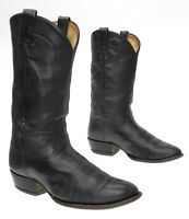 TONY LAMA Cowboy Boots 9 EE Mens Vtg Black Leather Western Boots USA Motorcycle