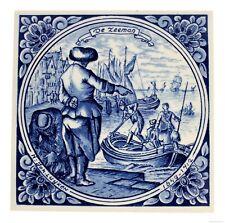 Blue Delft Vintage Ceramic Tile Rare Reproduction Majolica Netherlands Holland