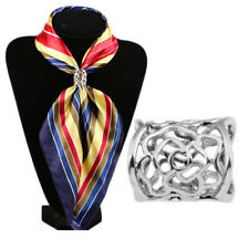 Hollow Rose Scarf Ring Buckle Slide Tube Scarf Jewelry Silver