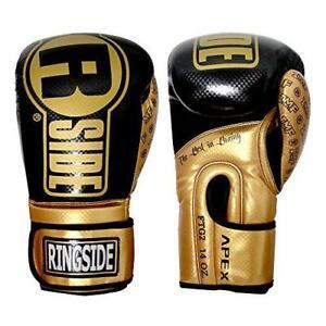 Ringside Apex Flash Boxing Training Sparring Gloves, BK/GD, 14 oz
