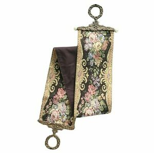 Vintage Corona Decor Pink Gold Floral Wall Hang Tapestry Bell Pull 6050C Brass
