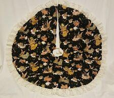 "Christmas Tree Skirt Golden Angels Stars LARGE 41"" homemade AMAZING"
