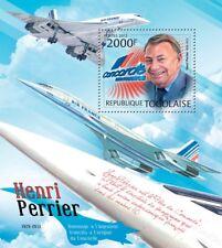HENRI PERRIER & Air France CONCORDE Aircraft (1v) Stamp Sheet (2012 Togo)