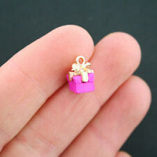 2 Pink Present Charms Goldplated Enamel Fun and Colorful E218