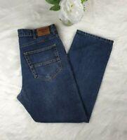 Mens Farah Classic Straight Leg Mid Rise Dark Blue Jeans Size W36 L30