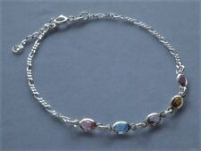"""Figaro+Multi-Color Crystals- Italy 925 9"""" to 10"""" Sterling Silver"""