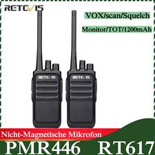 2*Retevis RT617 Walkie-Talkie PMR446 Funkgerät 16CH CTCSS/DCS TOT VOX 2way Radio