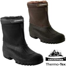 Mens Fur Lined Grip Sole Snow Mucker Boots Winter Warm Thermal Wellingtons Shoes