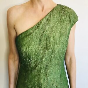 Covers Size 12 Green Silk Metallic One Shoulder Dress Australian Designer Label