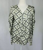 Marni Size 38 Abstract Print V Neck Long Statement Sleeves Silk Top Flaws