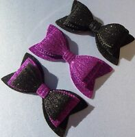 "SILVER MIRROR FOIL SPARKLY GLITTER 3/"" DOUBLE HAIR BOW GIRLS ALLIGATOR CLIP"