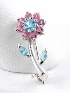 14K White Gold Flower Brooch Pin Set w/ Pink & Blue Topaz