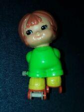 "Vintage Wind-Up Toy 3"" kid-a-long kids Roller Skating Little Girl Baby Tomy 1979"