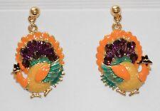 Thanksgiving Turkey w Pilgrim Hat Dangling Post Earrings / Gold-tone / NWT