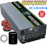 4000W/8000W Power Inverter 12V/24V To 240V Pure Sine Wave Caravan Converter LCD