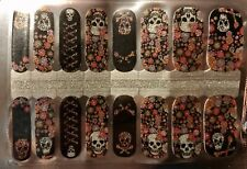 Color Nail Polish Strips, 16ct. Glitter Floral Skull Read Description