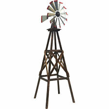 9ft. Ornamental Decorative Décor Outdoor Garden Yard Wood Windmill Weather Vane