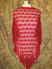Vintage Crocheted poncho with ribbon fringe By Cejon Accessories