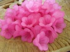 60 pce Frosted Pink Acrylic  Bell Flower Beads 14mm x 10mm Jewellery Making