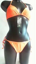 Demoniq Ladies Orange Tie Up Thong Bikini Swimwear Set - XXL  #25D349