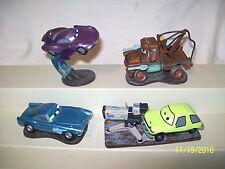 Disney Pixar Cars Lot of 4 PVC Car on Stand Cake Topper Mater Finn Holley Acer